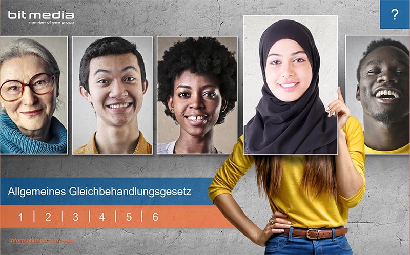 """Sie sehen den Startbildschirm unseres Lernprogramms """"Allgemeines Gleichbehandlungsgesetz""""."""