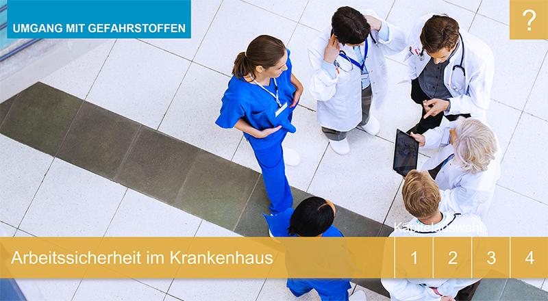 """Sie sehen den Startbildschirm unseres Lernprogramms """"Arbeitssicherheit im Krankenhaus - Umgang mit Gefahrenstoffen""""."""
