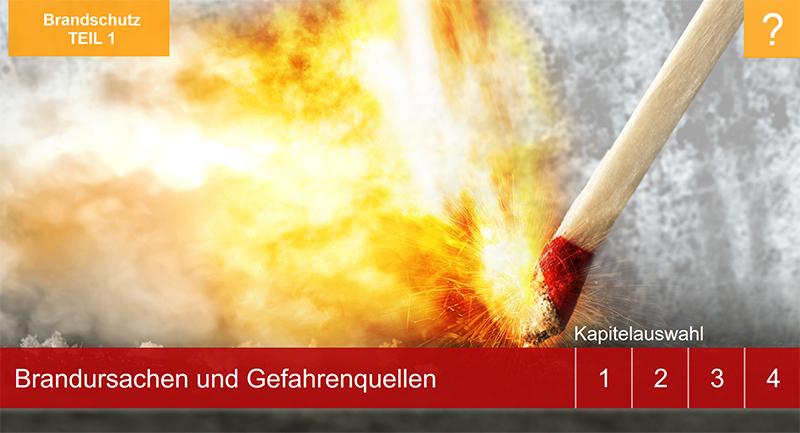 """Sie sehen den Startbildschirm unseres Lernprogramms """"Brandschutz""""."""
