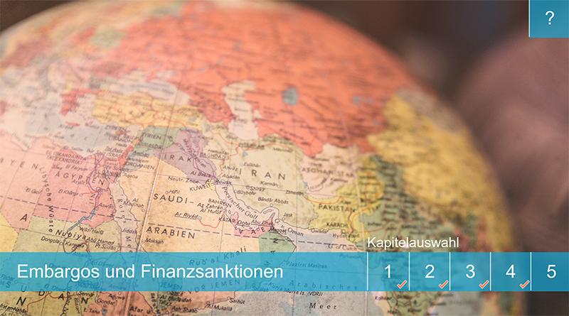 """Sie sehen den Startbildschirm unseres Lernprogramms """"Embargos und Finanzsanktionen""""."""
