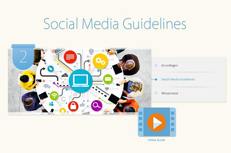 "Sie sehen den Startbildschirm unseres Lernprogramms ""Social Media Guidelines""."